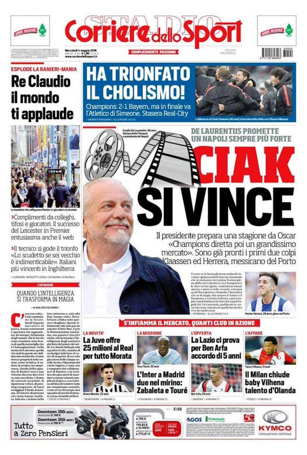 Portada del Corriere dello Sport -Foto: Especial
