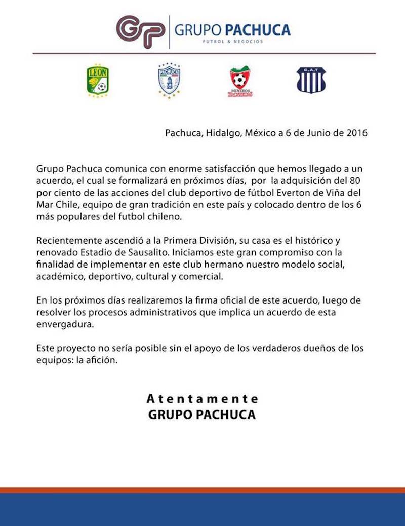 Comunicado del Grupo Pachuca. Foto: Especial