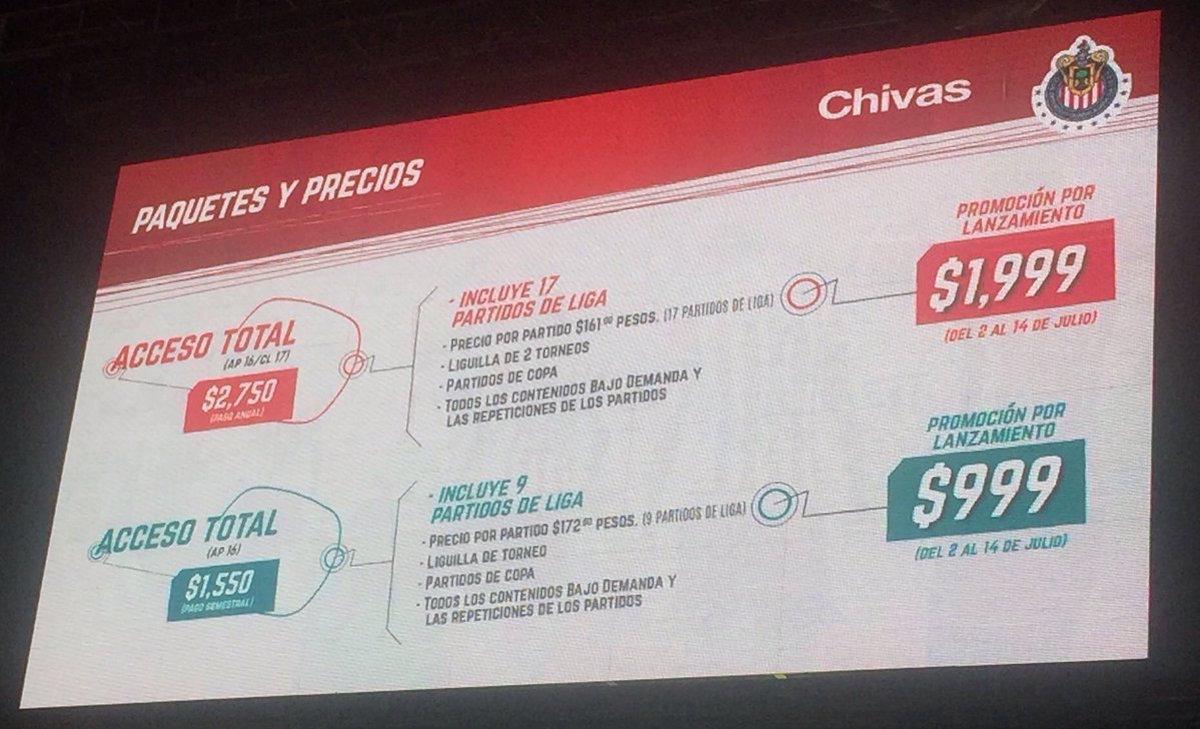Precios de paquetes de Chivas TV. Foto: Especial