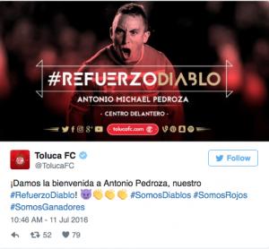 Antonio Pedroza. Foto: Toluca FC