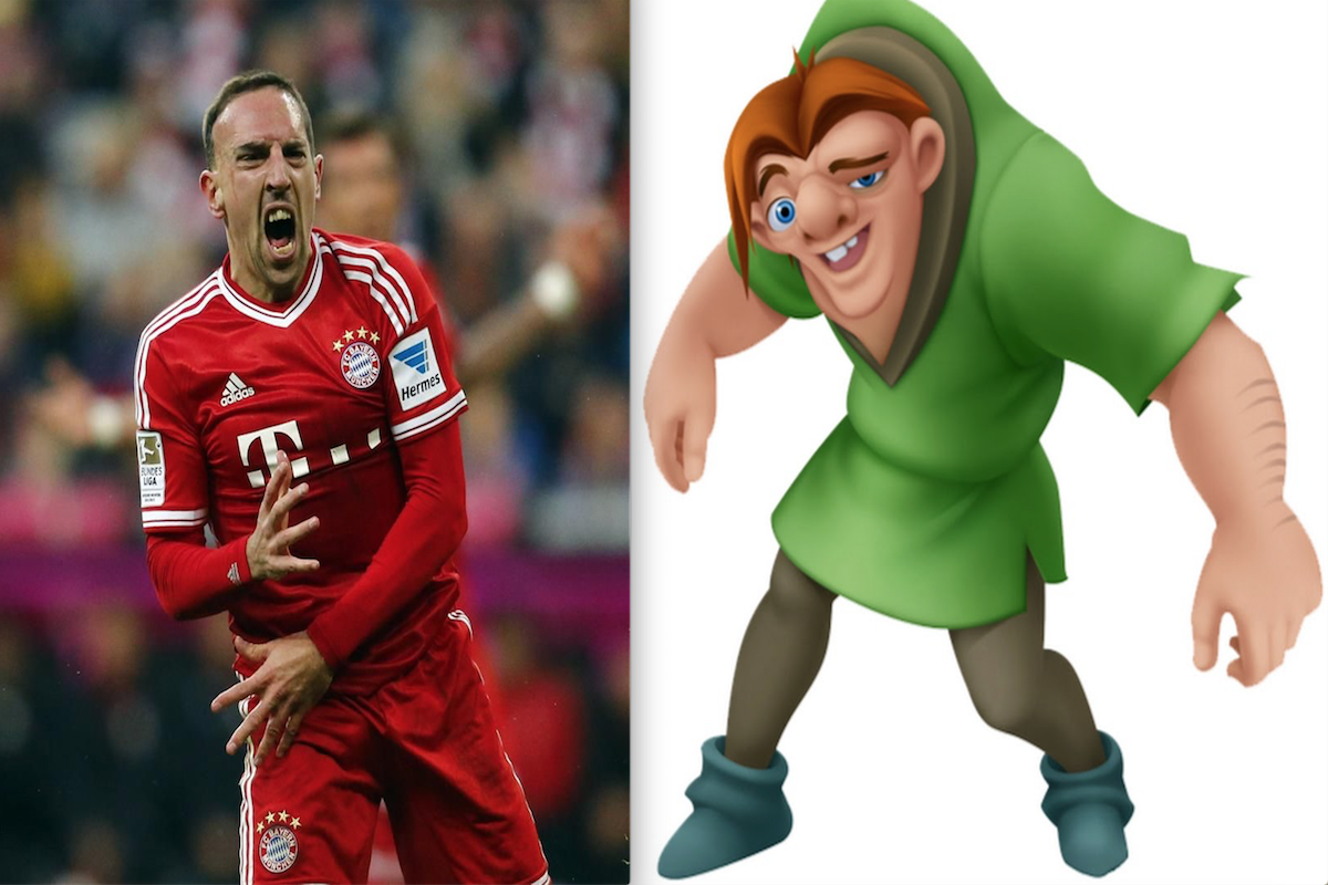 Franck Ribéry y Cuasimodo de el jorobado de Notre Dame. Foto: Especial