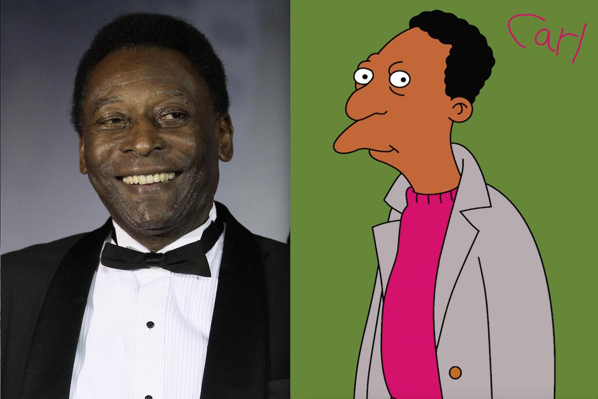 El 'rey' Pelé y Carl Carlson de Los Simpson. Foto: Especial