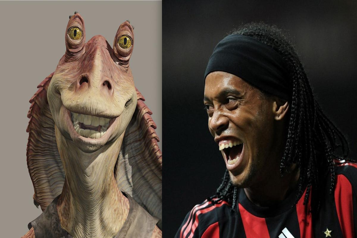 Jar Jar Binks de Star Wars y el astro brasileño Ronaldinho Gaúcho. Foto: Especial