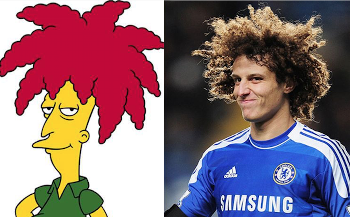 Bob Patiño de Los Simpson y el defensa brasileño David Luiz. Foto: Especial