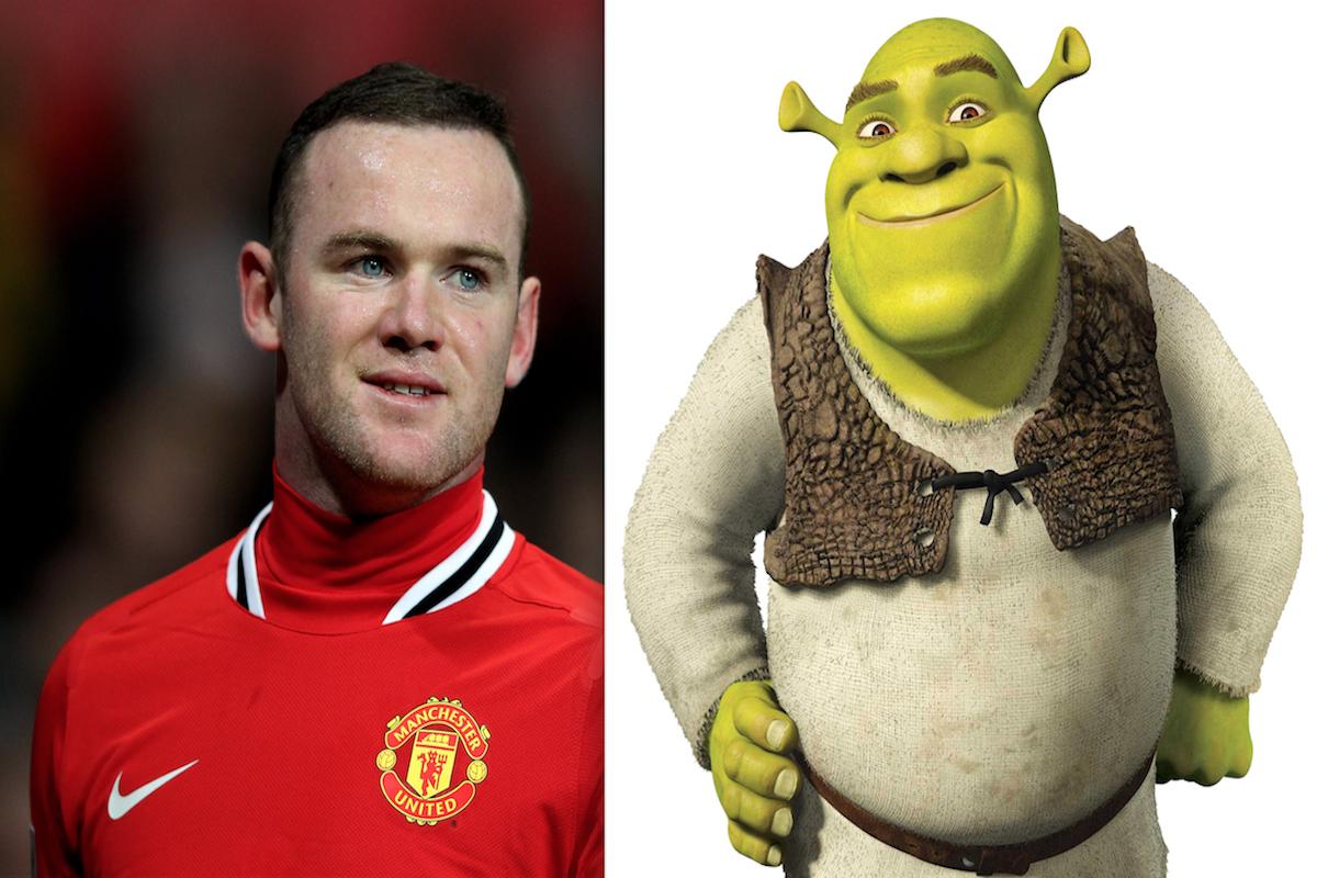El delantero inglés Wayne Rooney y Sherk. Foto: Especial