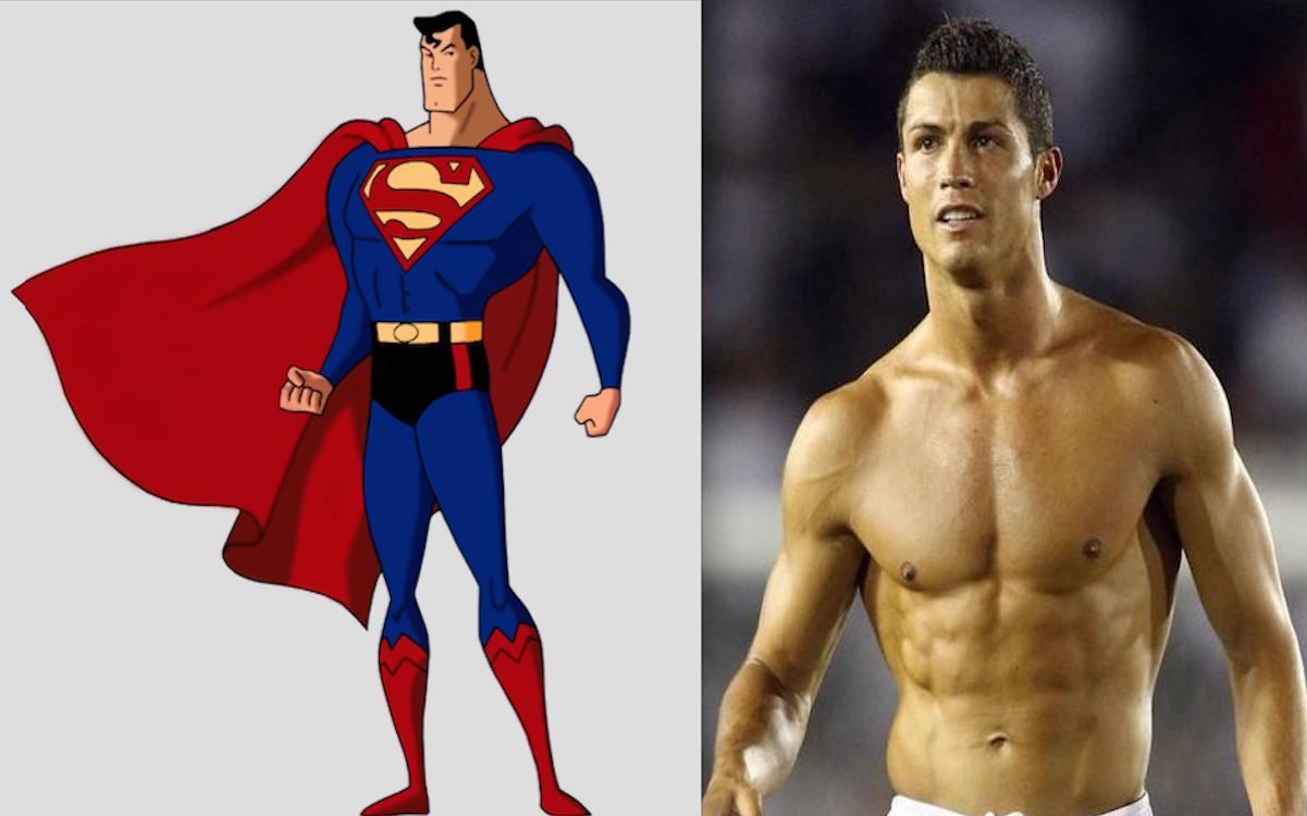 Superman y el astro portugués Cristiano Ronaldo. Foto: Especial