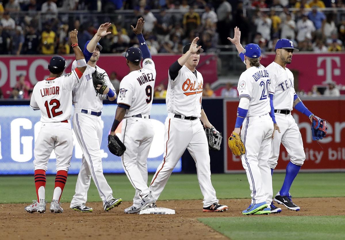 La Americana celebra la victoria en Petco Park. Foto: AP