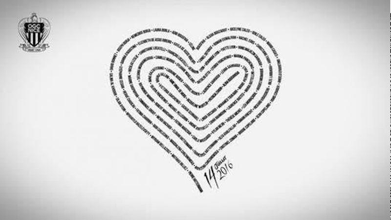 La camiseta del Niza con un corazón que recuerda a las víctimas del 14 de julio. Foto: Especial