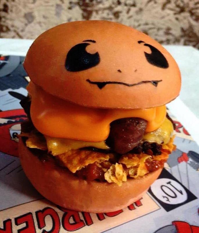 PokeHamburguesa de Charmander. Foto: Hashtag Hamburguesas