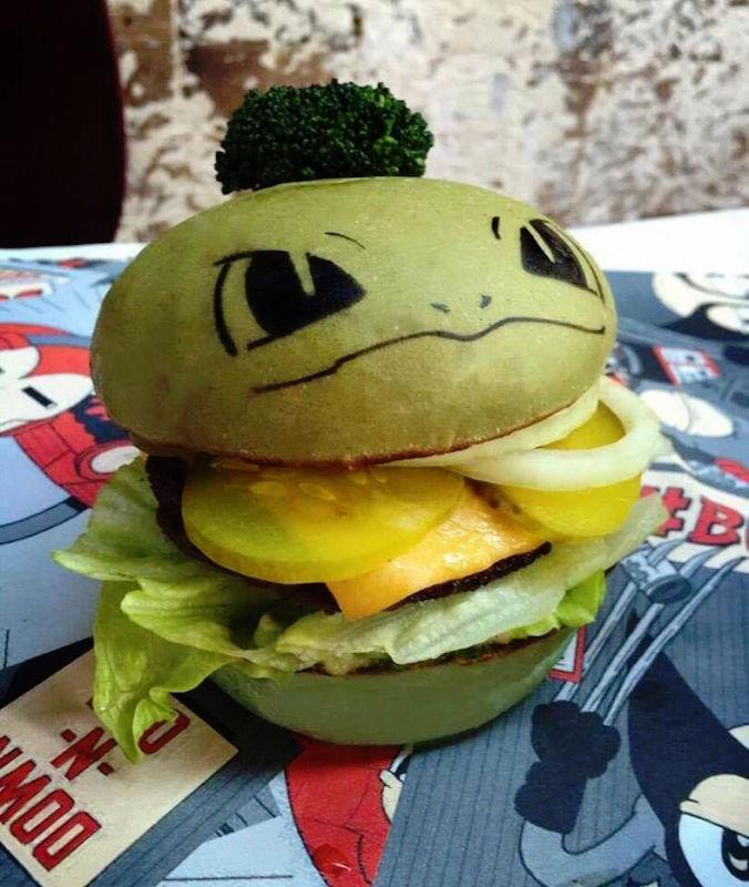 PokeHamburguesa de Bulbasaur. Foto: Hashtag Hamburguesas