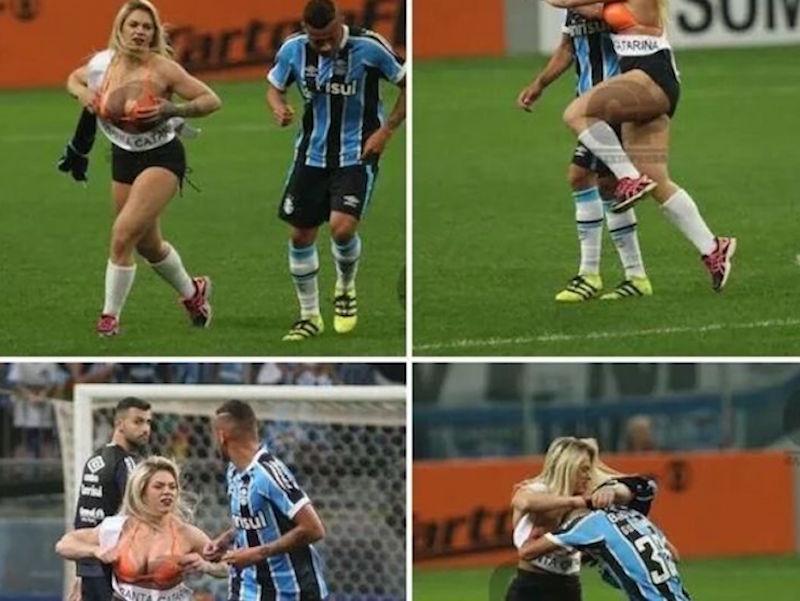 La candidata a Miss Bum Bum Danny Morais invadió la cancha en el Gremio vs Palmeiras. Foto: Especial