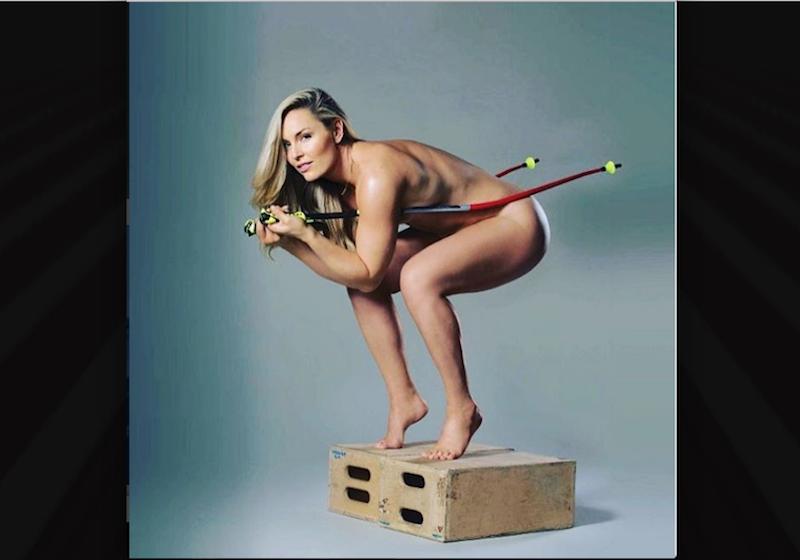Lindsey Vonn desnuda para la promoción de su libro. Foto: Instagram