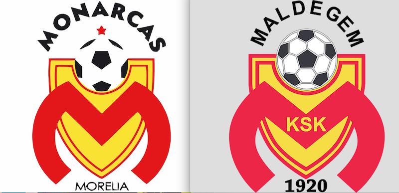 Escudos de Monarcas Morelia y del KSK Maldegem. Foto: Especial