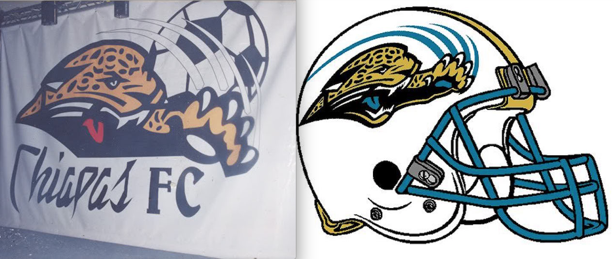 Logo del primer Jaguares de Chiapas y de los Jacksonville Jaguars de hace una década. Foto: Especial