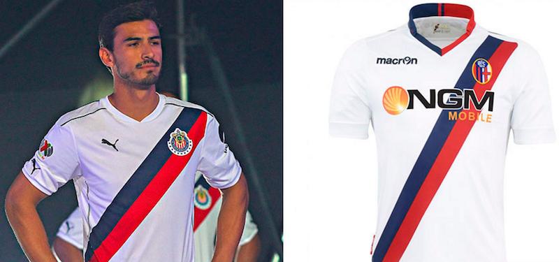 Los uniformes de Chivas y Bologna son idénticos. Foto: Especial