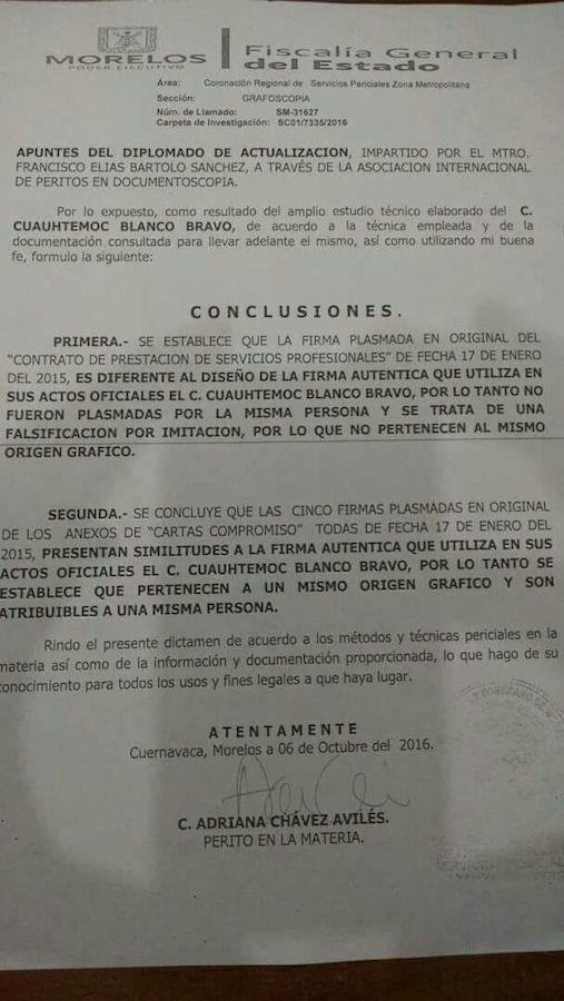 Segundo peritaje sobre la falsificación a la firma de Blanco. Foto: Especial