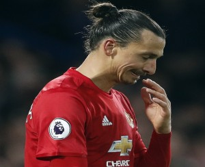 Manchester United's Zlatan Ibrahimovic reacts after his team lost the English Premier League soccer match between Chelsea and Manchester United at Stamford Bridge stadium in London, Sunday, Oct. 23, 2016.(AP Photo/Kirsty Wigglesworth)