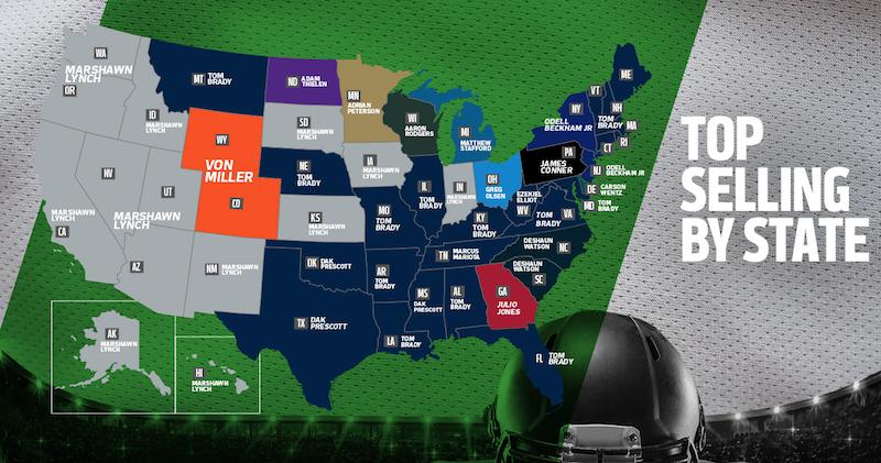 Los jerseys más vendidos de la NFL por estado en EUA - Estadio ... 21da89a8d02