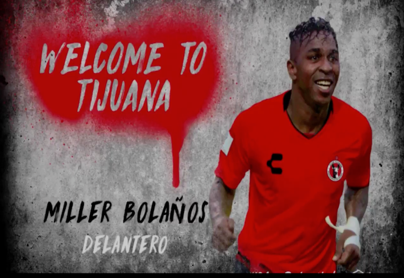 Tijuana recibe a Miller Bolaños