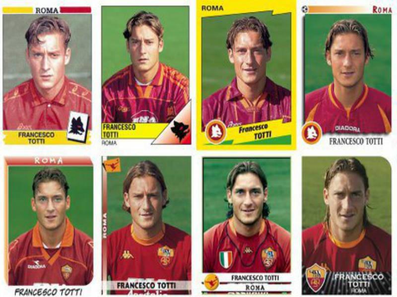 La carrera futbolística de Francesco Totti en cromos Panini