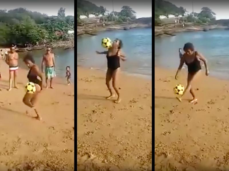 VIDEO: Conoce a la habilidosa 'abuelita de Ronaldinho'