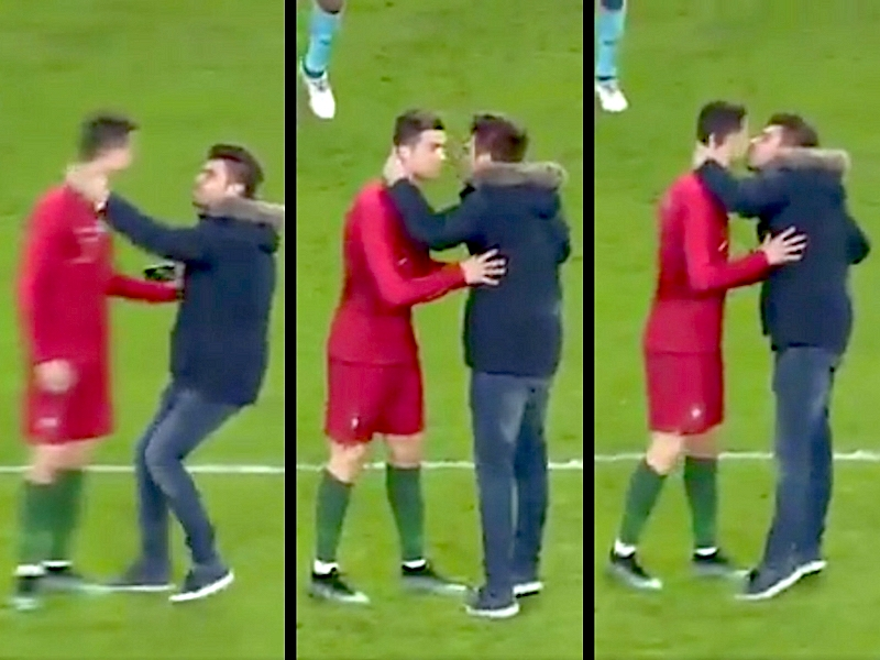 VIDEO: Cristiano Ronaldo recibió apasionado beso de fan
