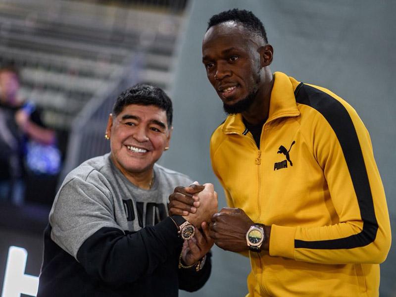 Bolt y Maradona unidos por el futbol