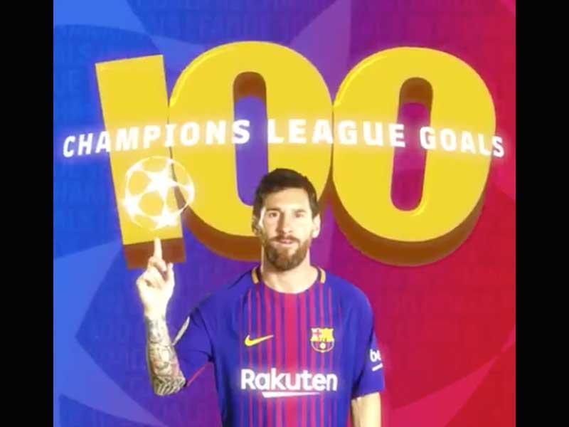 Video: Messi celebra 100 goles en Champions League