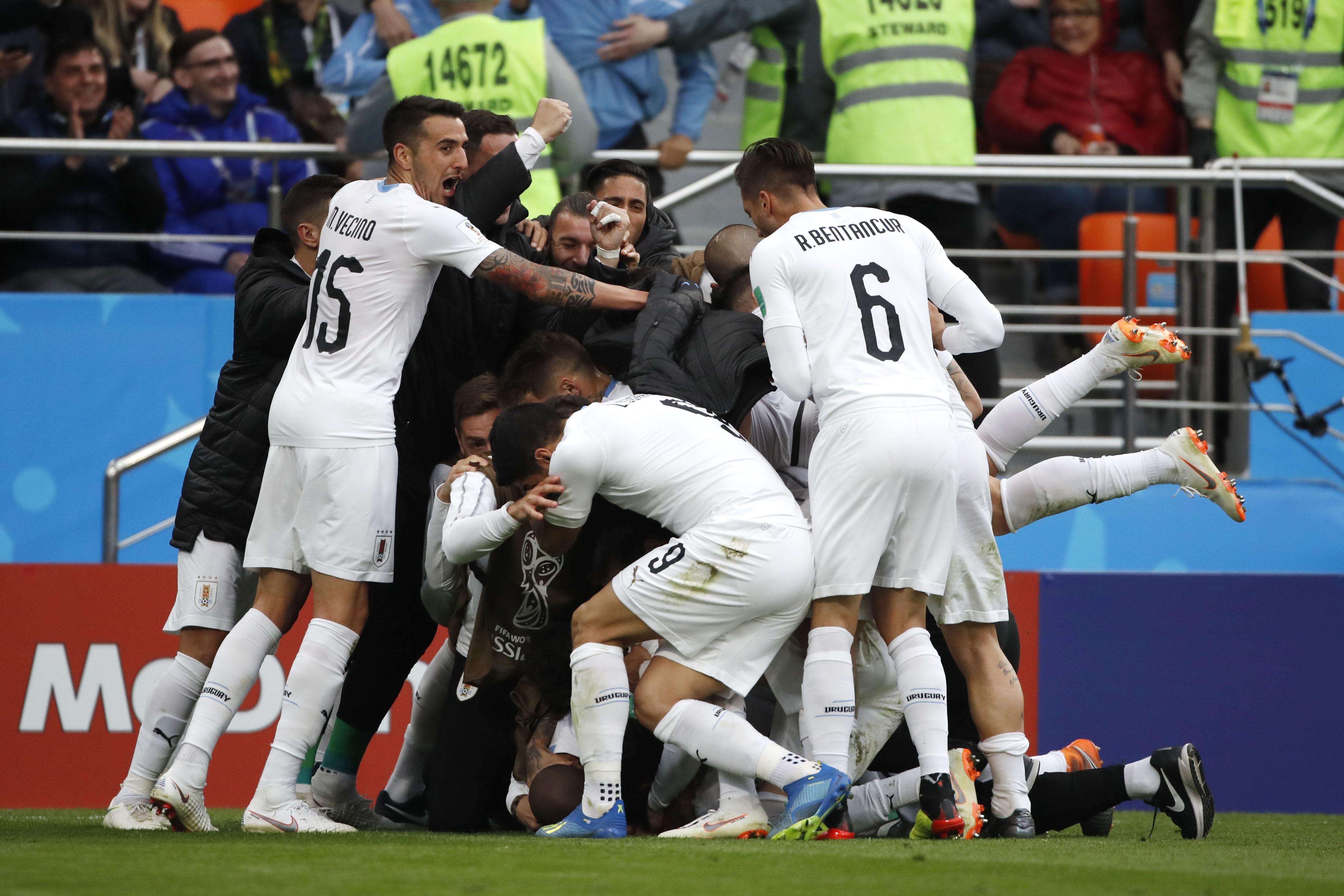Uruguay consigue primera victoria en Rusia ante Egipto
