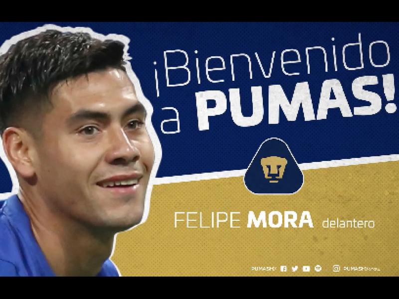 OFICIAL: Felipe Mora es nuevo atacante de Pumas