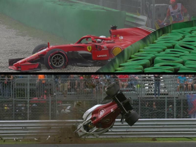 Vettel se lleva accidentada segunda práctica en Italia