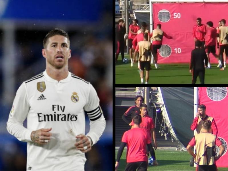 VIDEO: Ramos pierde la cabeza y da balonazo a canterano