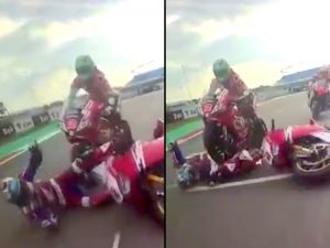Accidente espeluznante en campeonato de Superbikes