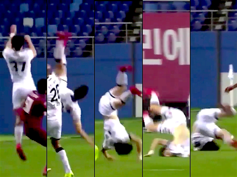VIDEO: Jugador coreano se rompe 3 vértebras en pleno partido