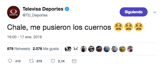 """Twitter de Televisa Deportes publica """"Me pusieron los cuernos"""""""