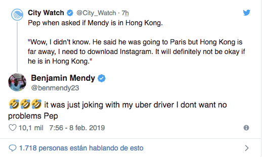 Pep Guardiola desconoce el paradero de Mendy