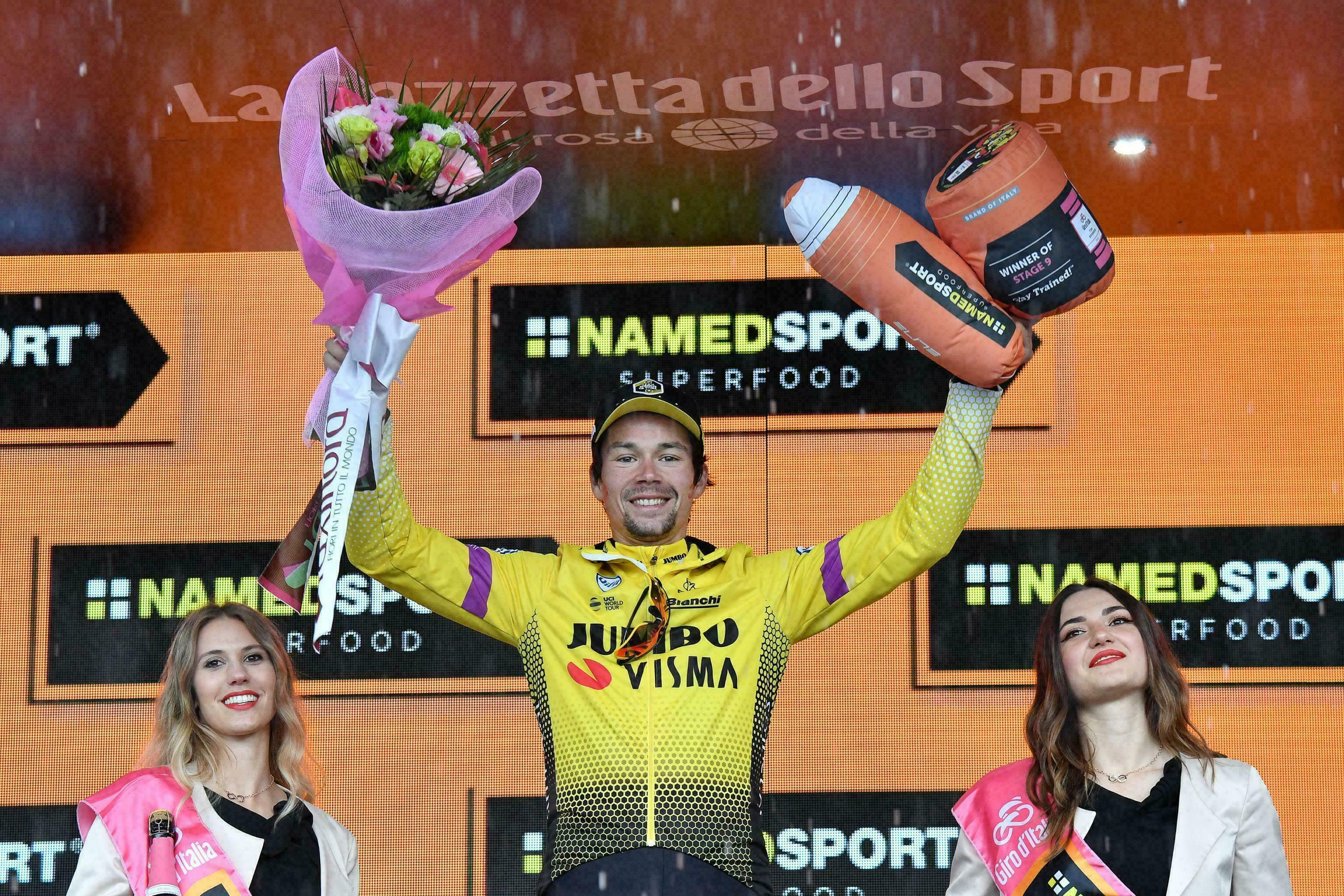 Roglic se lleva 9na etapa del Giro; Conti continúa al frente