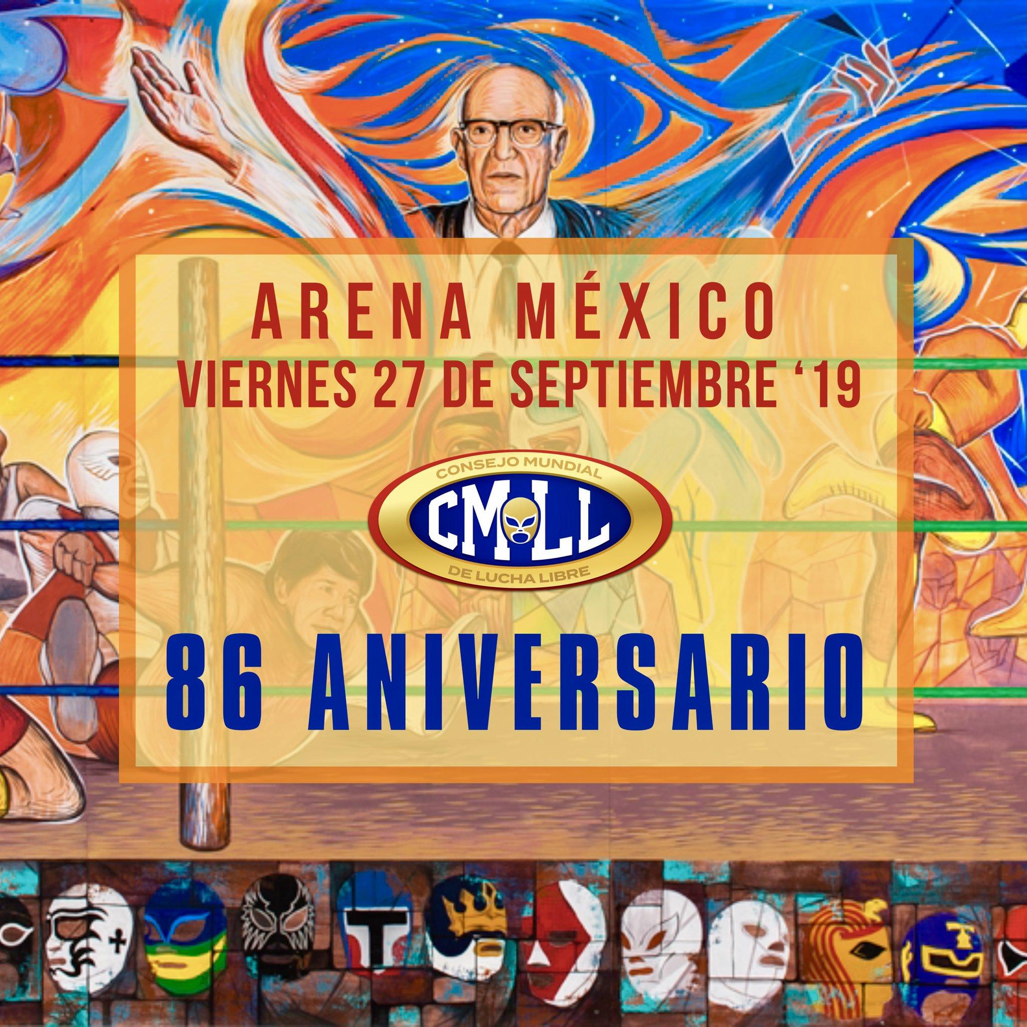 Festejo por aniversario del CMLL se llevará a cabo el 27 de septiembre